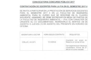 CONVOCATORIA-CONCURSO PÚBLICO EPIS 2017