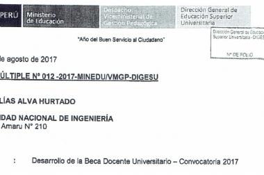 DESARROLLO DE LA BECA DOCENTE UNIVERSITARIO – CONVOCATORIA 2017