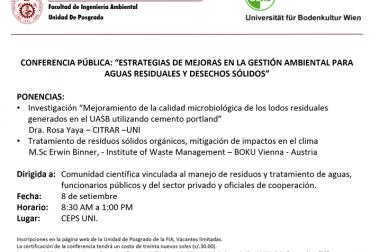 """SEMINARIO: """"ESTRATEGIAS DE MEJORAS EN LA GESTIÓN AMBIENTAL PARA AGUAS RESIDUALES Y DESECHOS SÓLIDOS"""""""