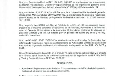 Reglamento de Actividades Extracurriculares de la Facultad de Ingeniería Ambiental
