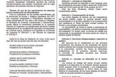 GOBIERNO DECLARÓ JORNADA NO LABORABLE PARA SECTOR PÚBLICO EL MARTES A PARTIR DE LAS 4 P.M.- Fuente Diario El Comercio