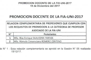 PROMOCIÓN DOCENTE DE LA FIA-UNI-2017