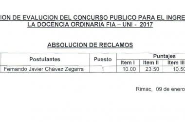 CONCURSO PUBLICO – DOCENCIA ORDINARIA FIA – UNI 2017