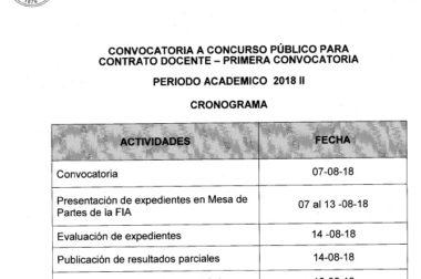 CONVOCATORIA A CONCURSO PUBLICO PARA CONTRATO DOCENTE – PRIMERA CONVOCACTORIA